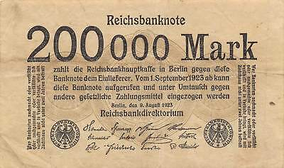Germany  200,000  Reich Mark  9.8.1923  Circulated Banknote RCV