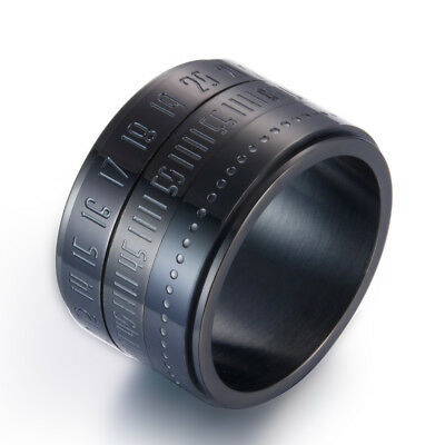 Unique Wide Turnable Number Clock Time Black Stainless Steel Finger Band Ring