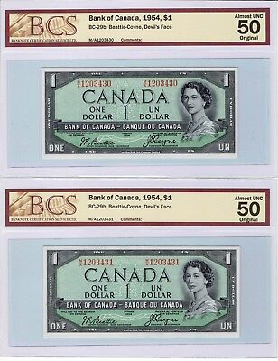 Canada, 1954 $1 Devils face,2 notes in sequence