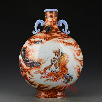 Chinese Exquisite Handmade Luohan Dragon pattern porcelain vase