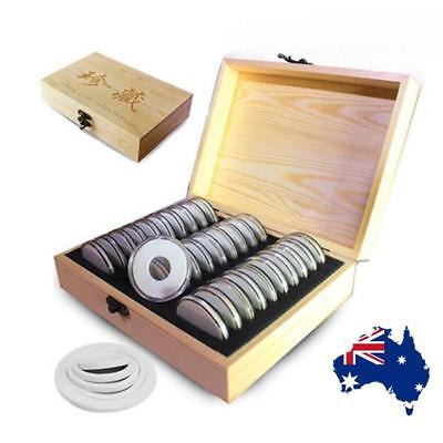 30 Grids Coin Storage Box Wooden Commemorative Coin Collection Container Case AU