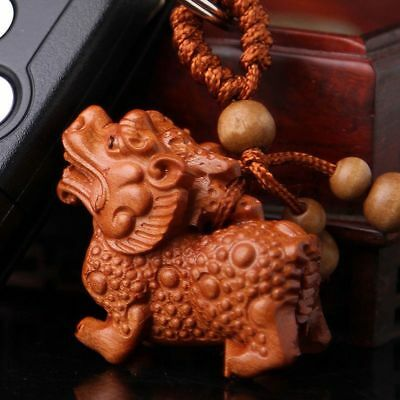 3D Wood Carving Chinese Wealth Pixiu Pi Yao Statue Sculpture Pendant Key Chain