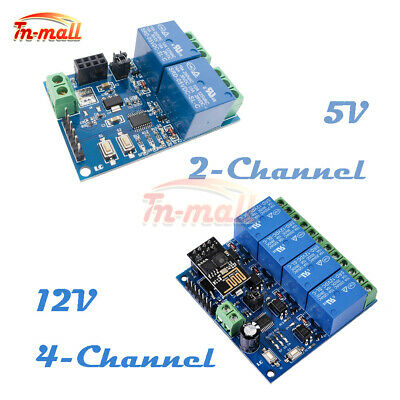 5/12V ESP8266 ESP-01 2/4-Channel WiFi Relay Module For IOT Smart Home APP Mobile