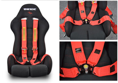 Universal Shoulder Strap 4 Point Camlock Racing Seat Belts Safety Harness Red AU