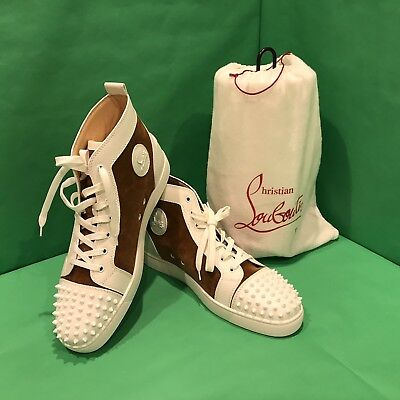 71d02a5ca29 New Christian Louboutin Lou Spikes Men  Flat Suede White   Brown Size 47    US