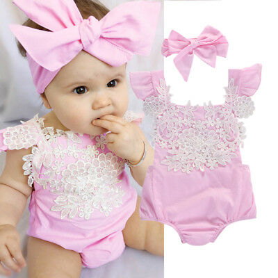 UKSTOCK Newborn Baby Girl Flower Romper Bodysuit Jumpsuit Headband Outfit Clothe