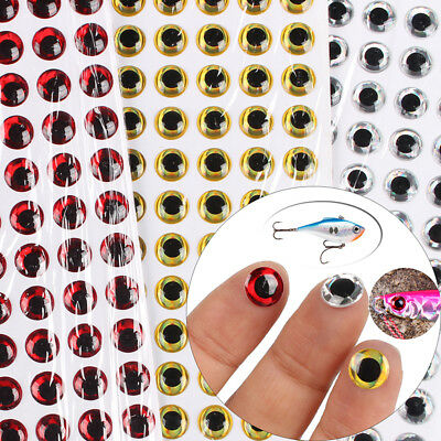 100Pcs 3D Holographic Fishing Lure Fish Eyes Fake Eyes Sticker Jigs Craft 3-12mm
