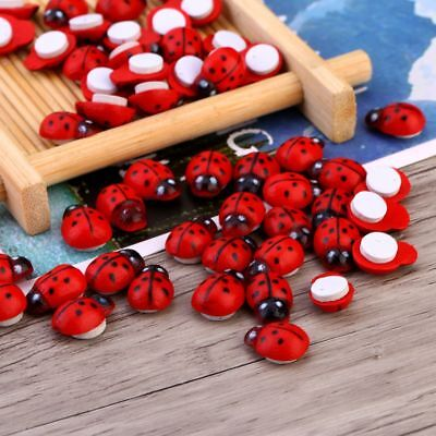 Wood Craft Painted Red Ladybug Self-Adhesive Scrapbooking Stickers Decor