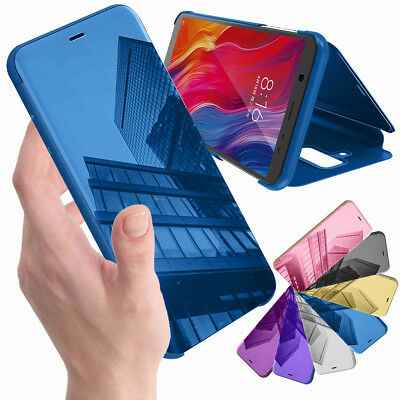 For Samsung Galaxy A9 A7 2018 Smart Clear Mirror View Slim Leather PU Phone Case