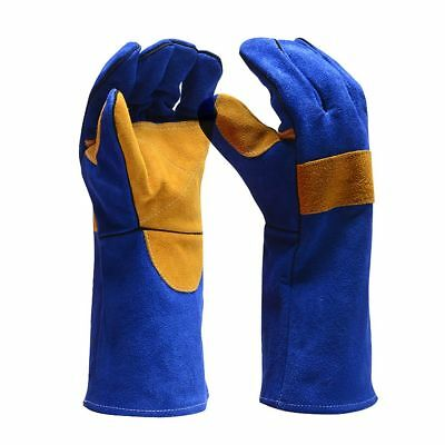 Electric Welding Gloves Fabrication Foundry Safety Heat Protective Gauntlet UK