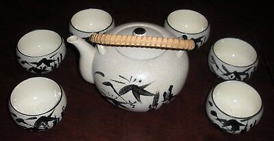 JAPANESE TEAPOT + LID w/ 6 CUPS - Shofuso House & Garden 1970s