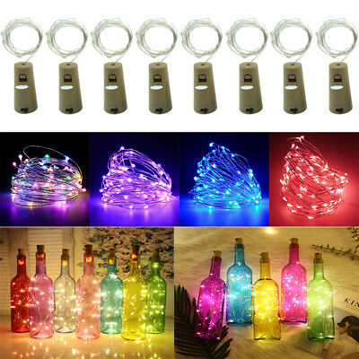 LED Wine Bottle Cork Fairy Lights Warm Cool White Multi-Colour Christmas Party