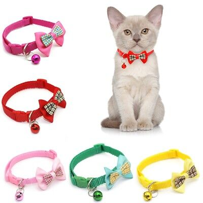 Réglable Chaton Cravate Collier Bowknot Papillon Bell Chat Animaux Chiot Neuf