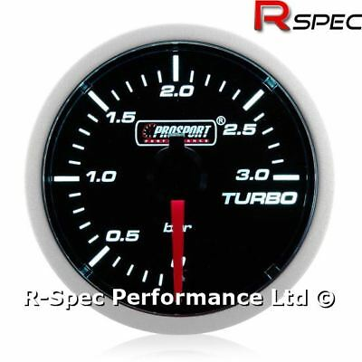 52mm Prosport Super White Turbo Diesel 3 Bar Boost Gauge Kit - TD TDI DIESEL