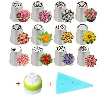 Piping Icing Pastry 12Pcs Nozzles Cake Stainless Steel Tips Cream Silicone Bag