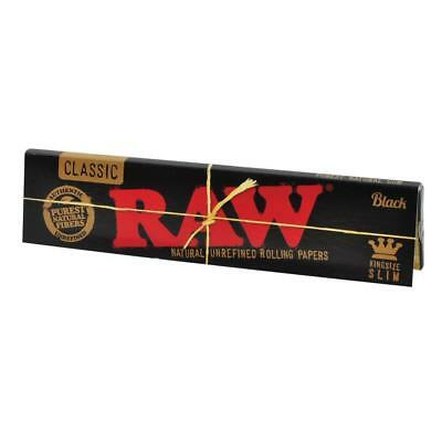Raw Classic Black King Size Slim Natural Unrefined Raw Rolling Papers - Tobacco