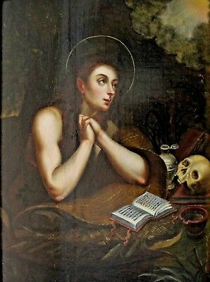 German Italian Old Masters - Holy Magdalena with Skull and Book