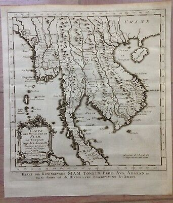 Thailand Cambodia Burma 1749 Bellin / Van Schley Nice Antique Engraved Map