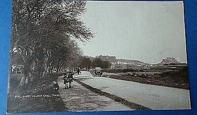 Jersey Channel Island Postcard Gorey Village Road & Old Car 1905 Real Photo Card