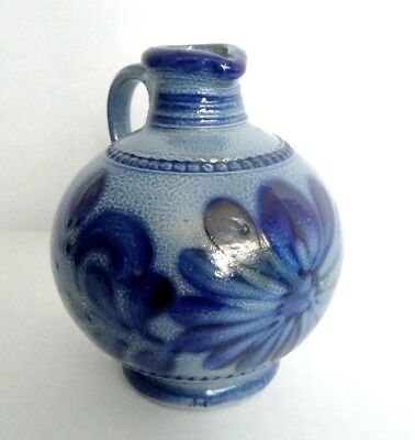 Small Antique Cobalt Salt Glaze Stoneware Pottery Pitcher Nice Example