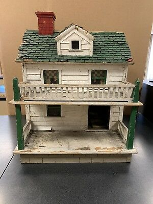 Vintage Dollhouse All Wood Folk Art Primitive Early 1900's Truly A Piece Of Art