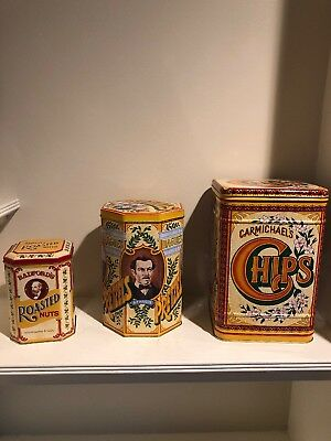 Vintage Carmichael's, Hague's, S.J. Radford Tin Canister Set Of 3 New Old Stock