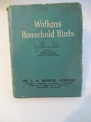 1941 Watkins Household Hints By Elaine Allen Cook Book Usefull Hints 4th Edition