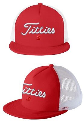 b0f8e874b1a Titties Golf Hat Snapback Cap PGA Flat bill Brim Bachelor Titleist 2 spoof