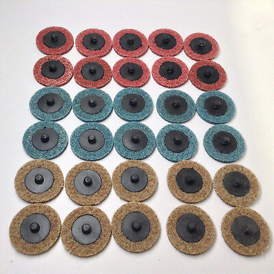 """30pc - 2"""" Surface Conditioning Discs Quick Change Prep Pads Coarse, Med & Vfn"""