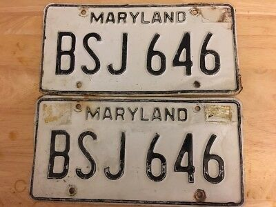 1980s Maryland Plates Matched Pair