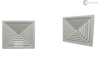 Swiftair 4 Way Ceiling Diffuser Aluminium Grille Square 150mm 225mm 300mm 450mm
