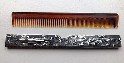 Vintage Denmark Beard Comb And Silver Plated Cover Hans Jensen Pocket Clip