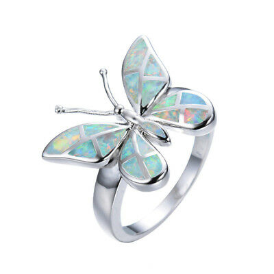 beautiful butterfly Silver White Fire Opal Ring Bridal Wedding Jewelry Size 6-10