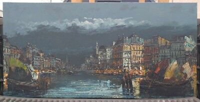 Old Vintage Artist Signed Original Venice Italy Canal Landscape Oil Painting