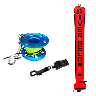 Orange Scuba Diving SMB Safety Sausage + 30m Reel + Whistle Safety Equipment
