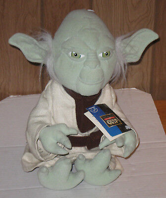 "Applause Brand Star Wars Yoda Stuffed Figure 15"" Plush 1998 New with Tags"