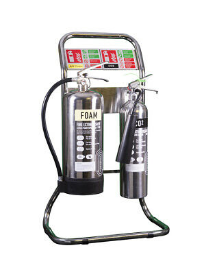 Double Tubular Fire Extinguisher Stand - Chrome