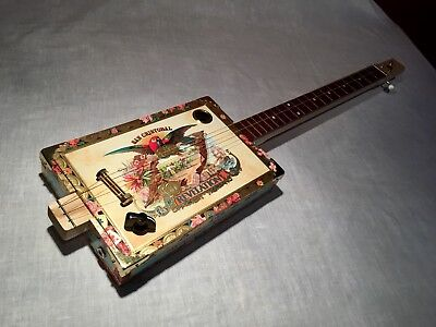 Cigar Box Guitar San Cristobal 3 String Fretted Acoustic/Electric Listen Below