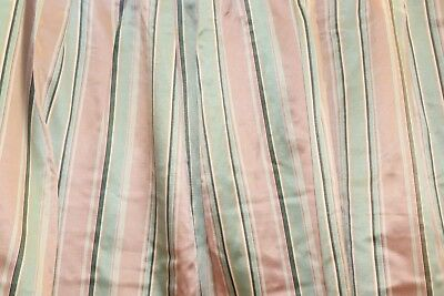 Vintage French c1930-40 Old Heavy Rayon Peach Pink & Green Stripe Fabric Panel
