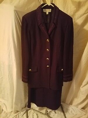 St. John by Marie Gray 3pc knitted purple suit leather collar women's sz 10 & 12