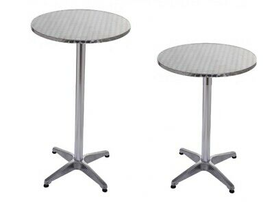 Table Haute De Bar Table Bistrot Alu / Inox Ø 60Cm, Hauteur Reglable 70 & 110 Cm