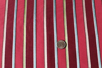 "Vintage c1938 Home Dec Colorful Rayon Maroon & Red Stripe Fabric~L-20""X W-26""~B"