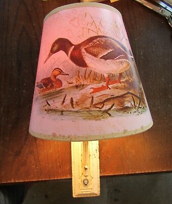 VTG ART DECO Sconce Electric Wall Fixture Cast Iron Duck Paper Shade Shabby Chic