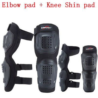 Elbow Knee Shin Armor Protector Guard Pads for Motorcycle Bike Racing 4pcs/set W