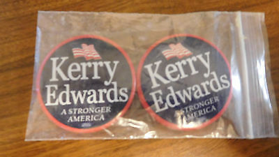 "2 Collectible Kerry Edwards Stronger America 2.25"" Diameter Circle Campaign Pins"