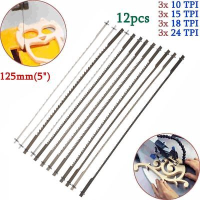 12x Scroll Saw Blades 127mm Pin ned Woodworking Accessories Power Tools Black N1