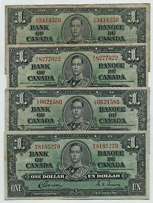 4 Bank Of Canada 1937 $1.00 Sold As A Lot