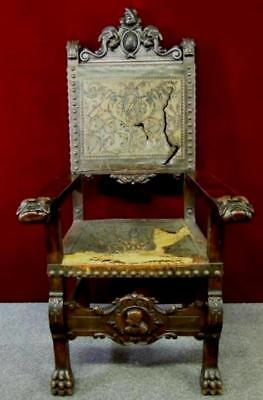 Gothic  Throne Chair  Figural  Regal Coat Of Arms RARE