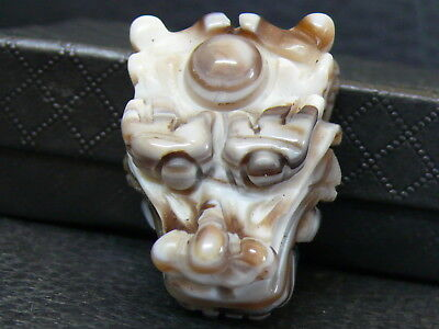 (eV266a) Tibet:  Beautiful Old Agate Hand Carved Dragon Pendant