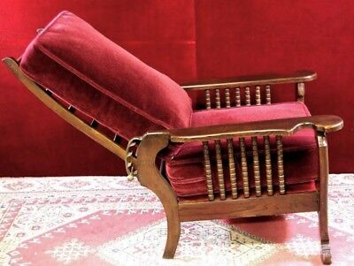 Antique  Stickley Morris Style  Recliner  NEW Mohair  Carved Wood